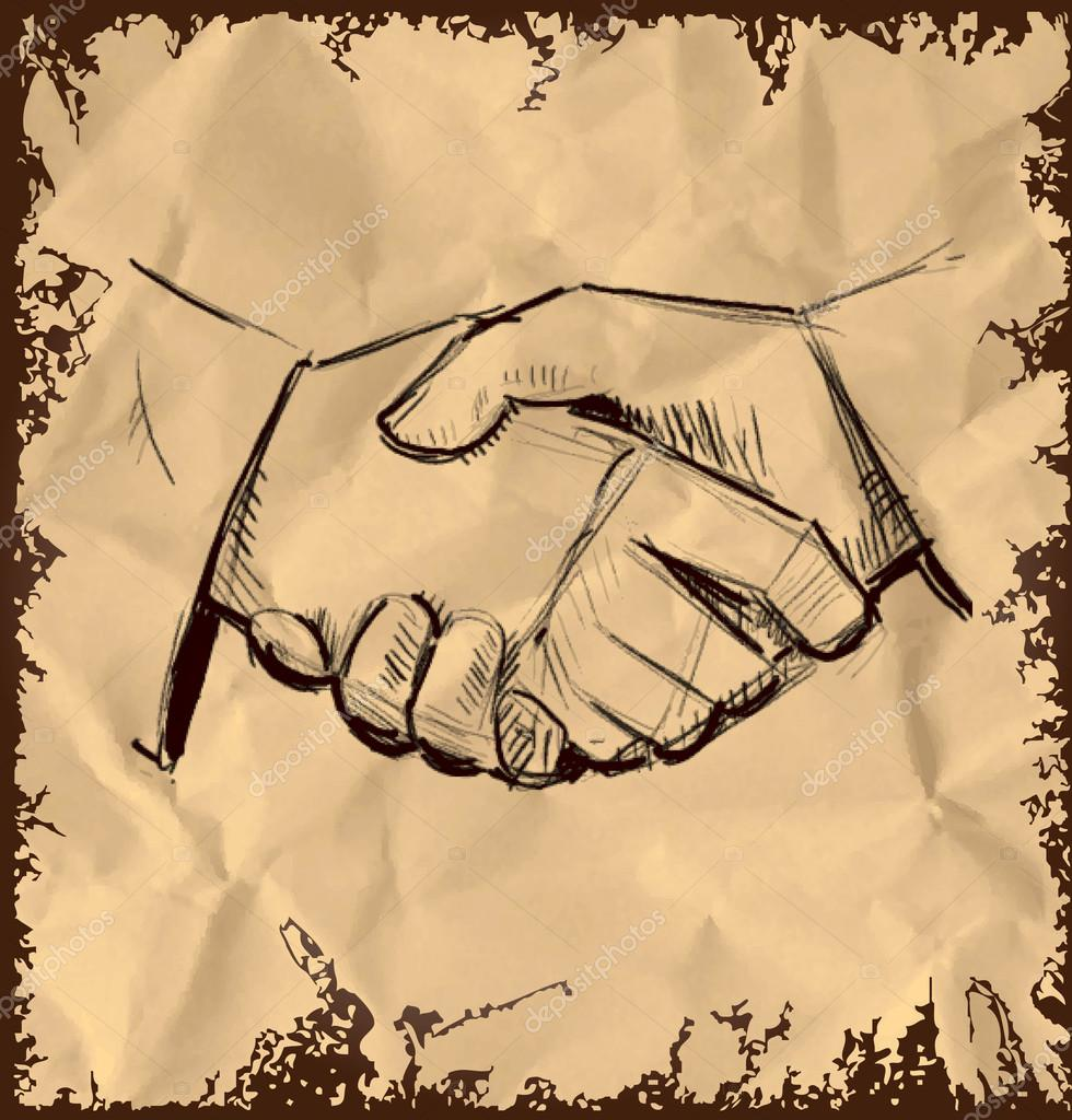 980x1024 Hands Shaking Icon Isolated On Vintage Background. Hand Drawing