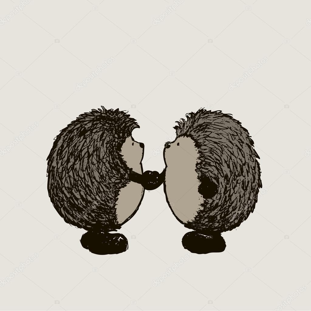 1024x1024 Two Hedgehogs Shaking Hands Stock Vector Mangulica