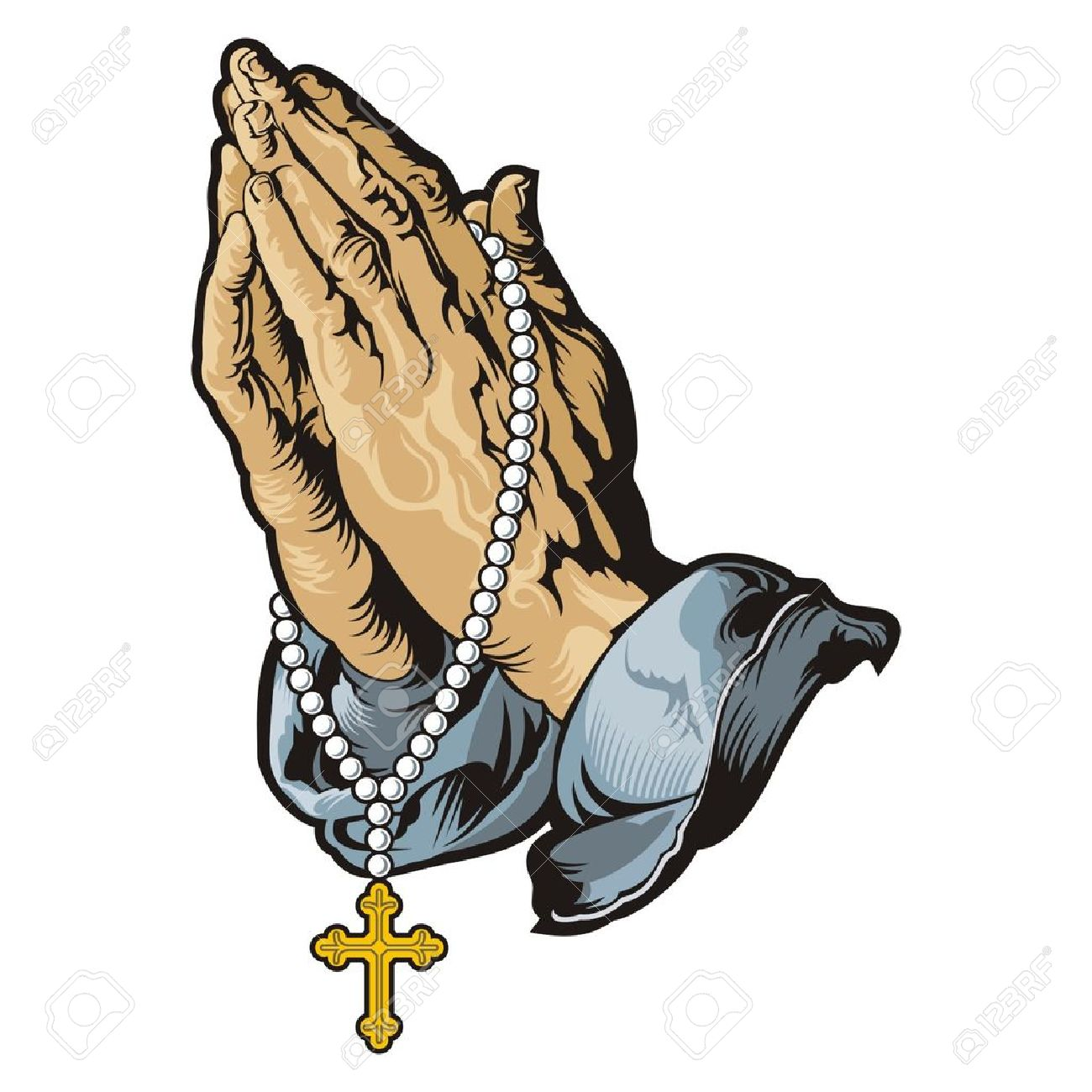 1300x1300 Praying Hands With Rosary Vector Royalty Free Cliparts, Vectors