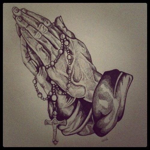 500x500 Praying Hands With Rosary Drawing