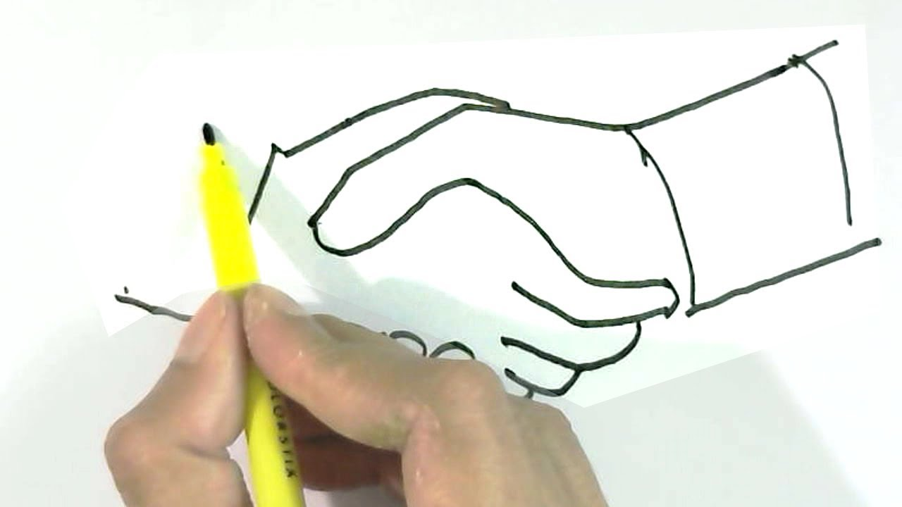 1280x720 How To Draw Handshake In Easy Steps For Children, Kids, Beginners