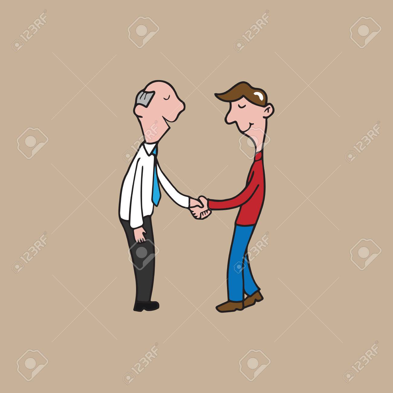 1300x1300 Men Handshake Cartoon Drawing Vector Royalty Free Cliparts