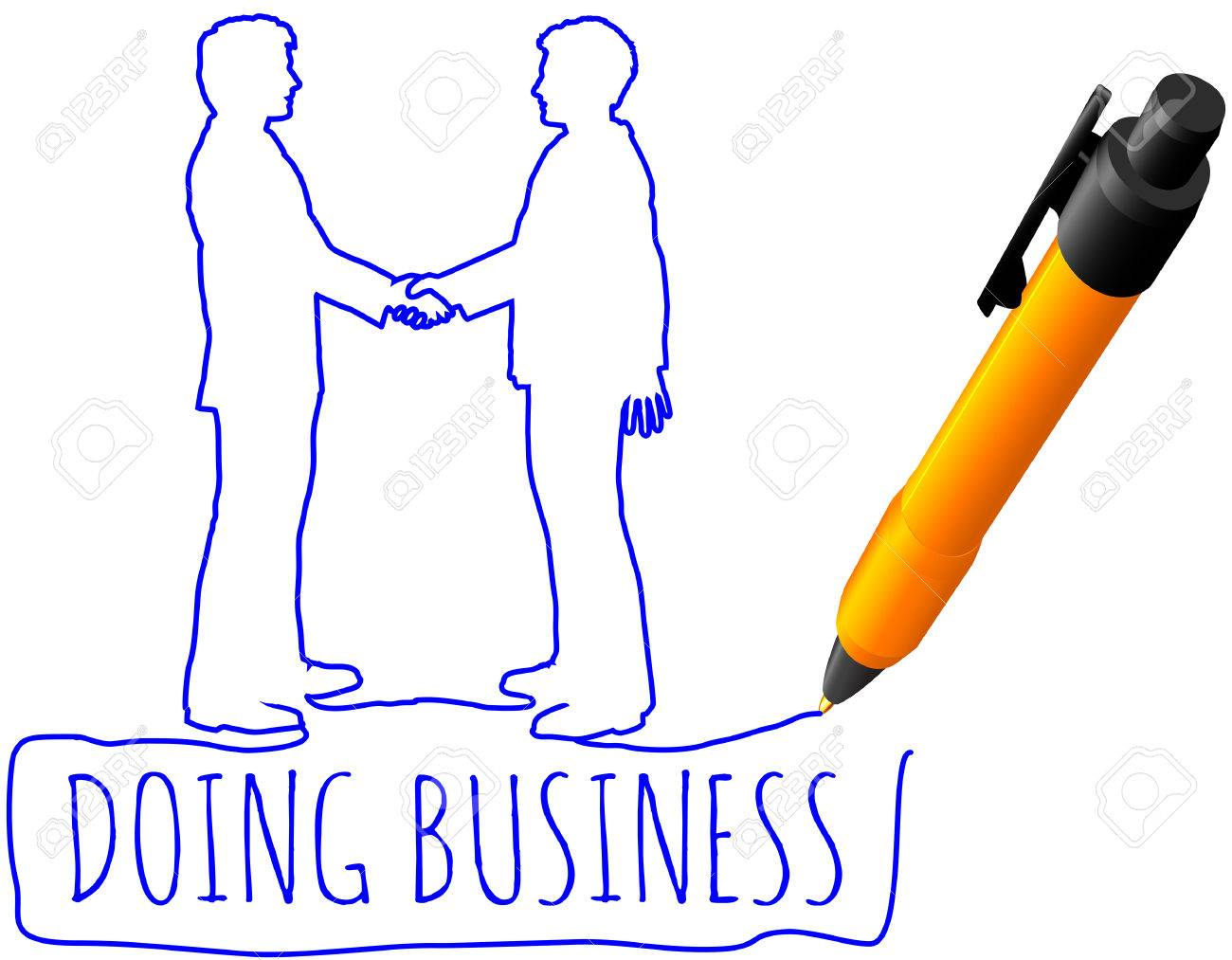 1300x1013 Pen Drawing Business People Handshake On Partners Agreement
