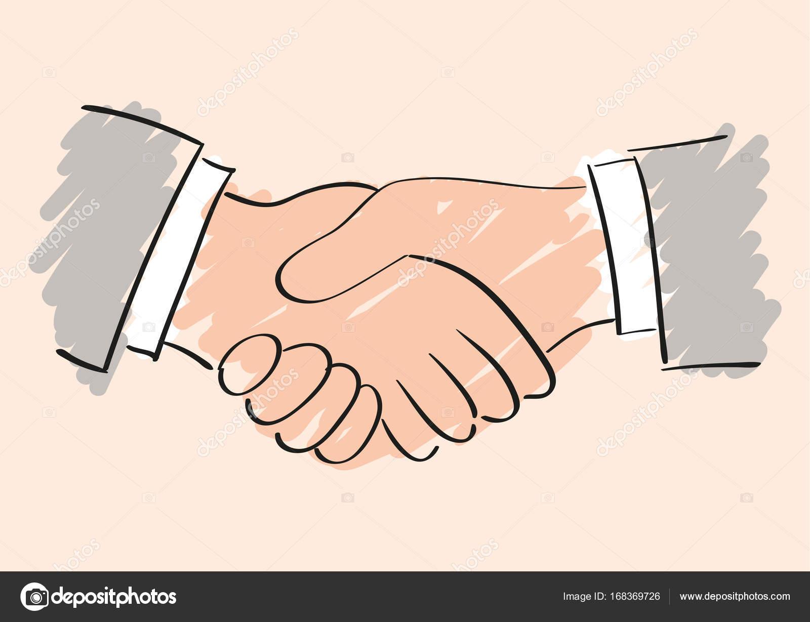 1600x1229 Vector Sketch Drawing Of Handshake. Symbol Of Friendship