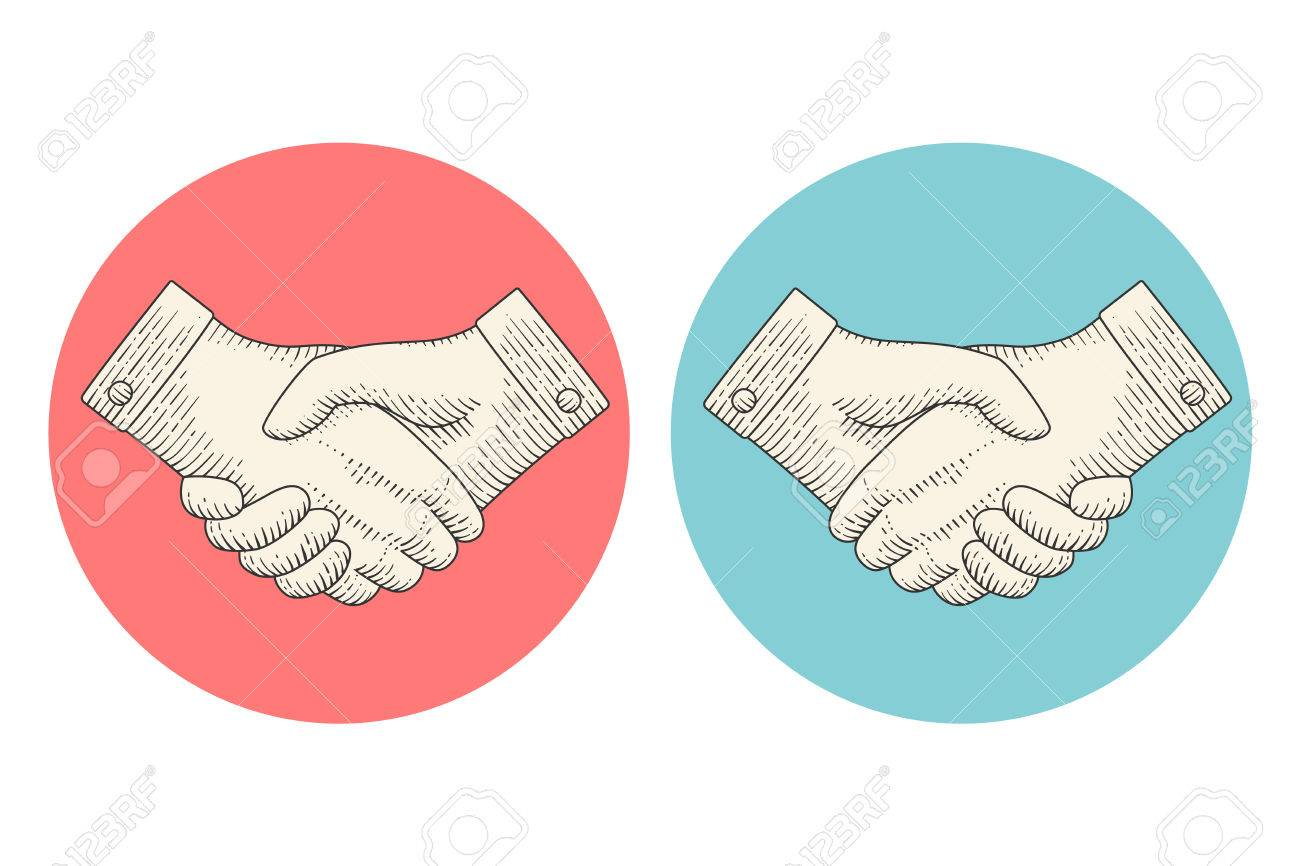 1300x866 Vintage Drawing Icons Of Handshake Or Contract Agreement Symbol
