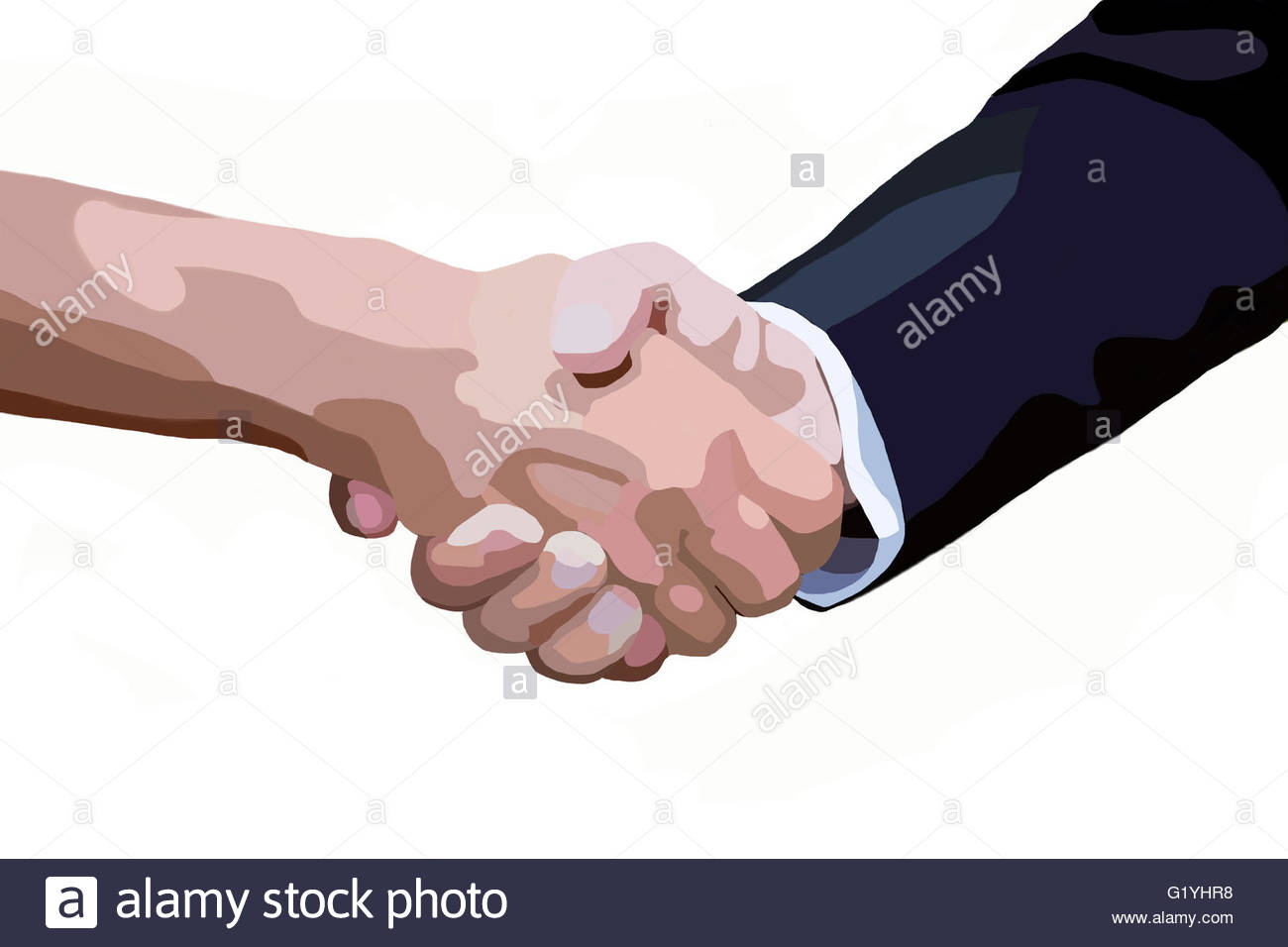1300x956 Drawing Of Handshake Of Two Men On White Background Stock Photo