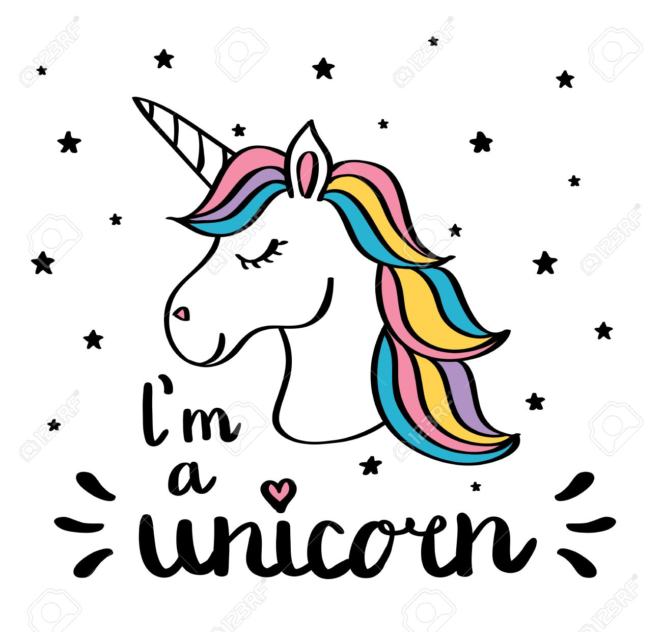 1300x1240 I M A Unicorn Handwriting Text Drawing Isolated On White Vector