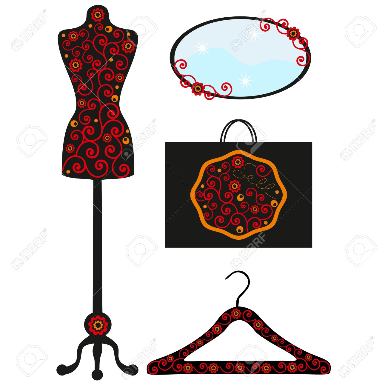 1300x1300 Dummy In Flowers, Hanger With Drawing, Vector Illustration,