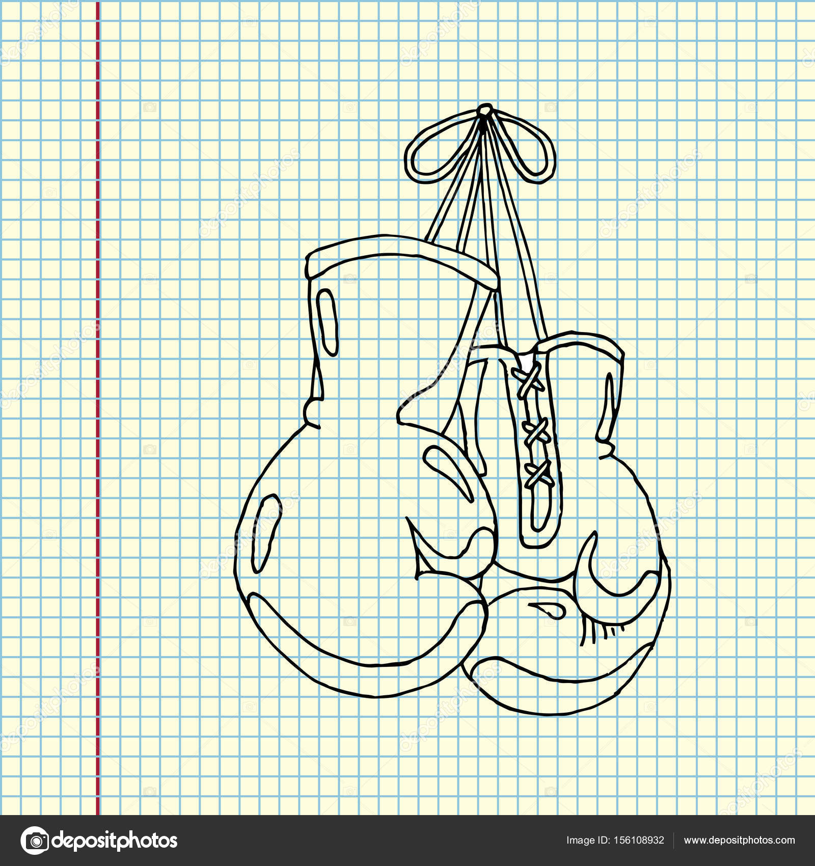 1600x1700 Hanging Boxing Gloves Vector Stock Vector