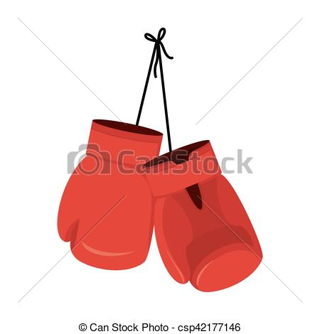 450x470 Hanging Red Boxing Gloves. Accessory For Boxer. Sports Eps