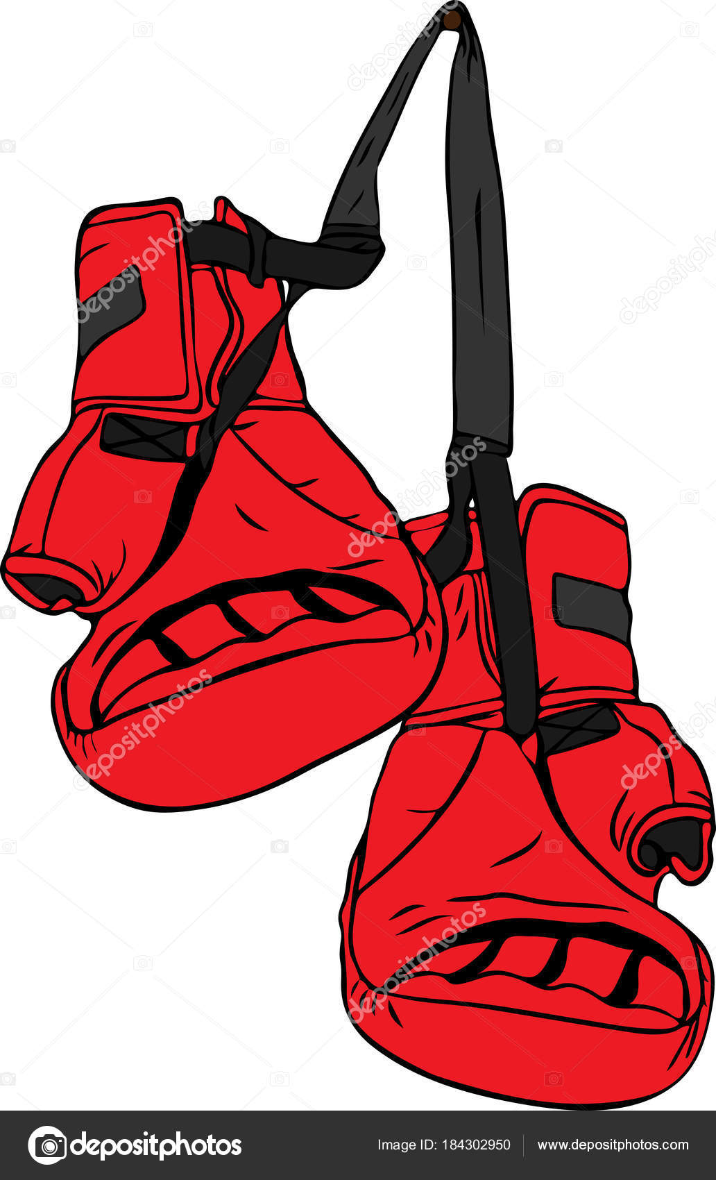 1032x1700 Pair Of Red Boxing Gloves Hanging On A Nail Stock Vector