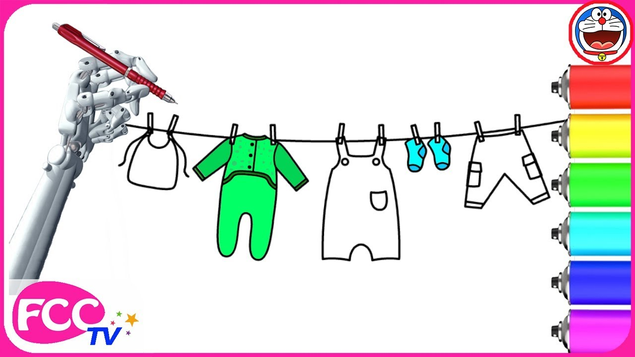 1280x720 How To Draw Baby Clothes Hanging On A Rope Drawing For Kid How