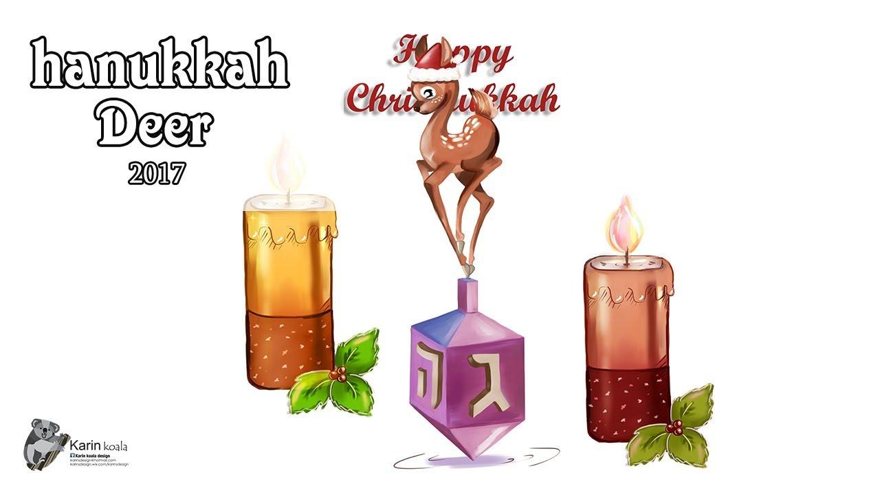 1280x720 Hanukkah Deer Speed Painting Chrisnukkah Drawing