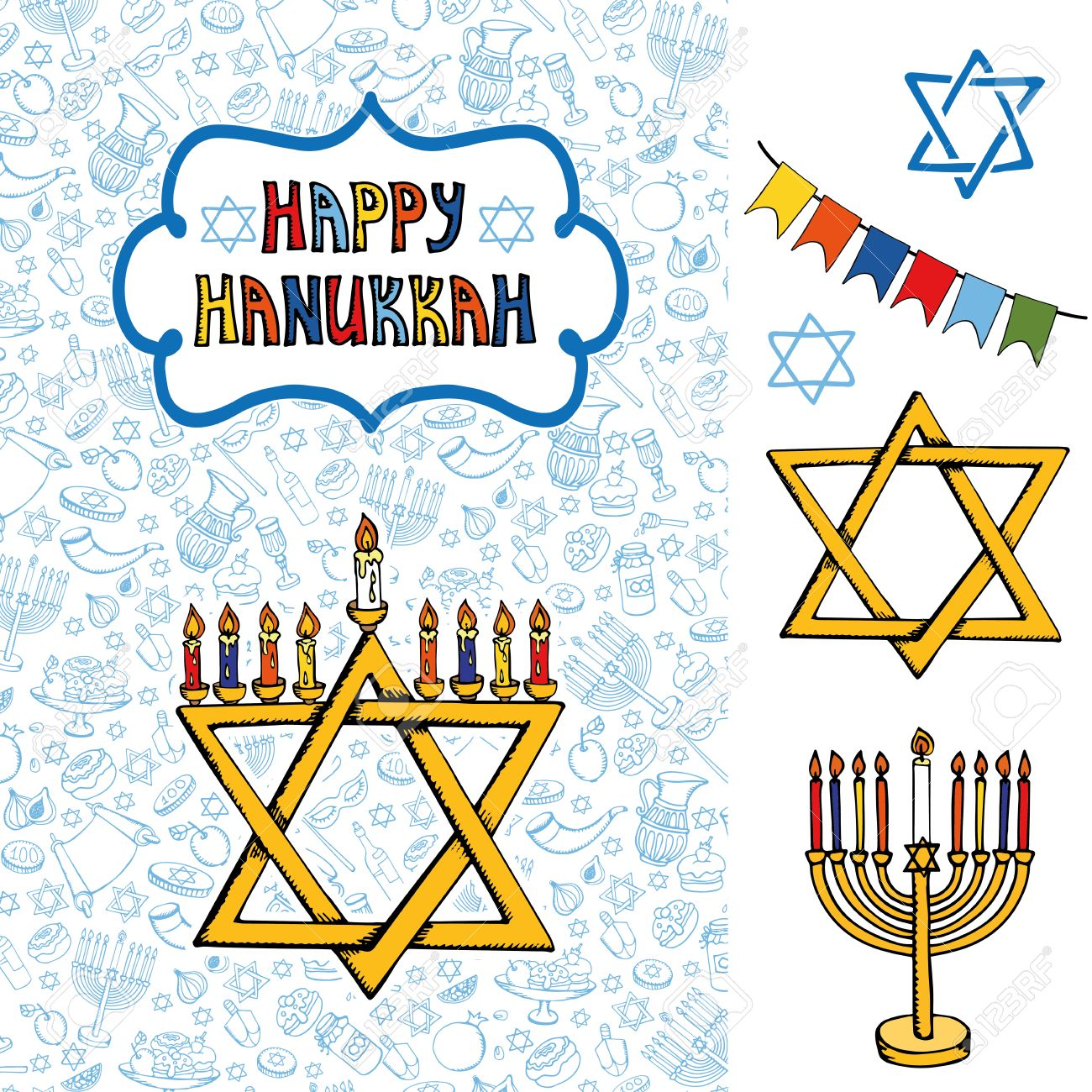 1300x1300 Hanukkah Symbols Greeting Card.doodle Hand Drawing Jewish Holiday