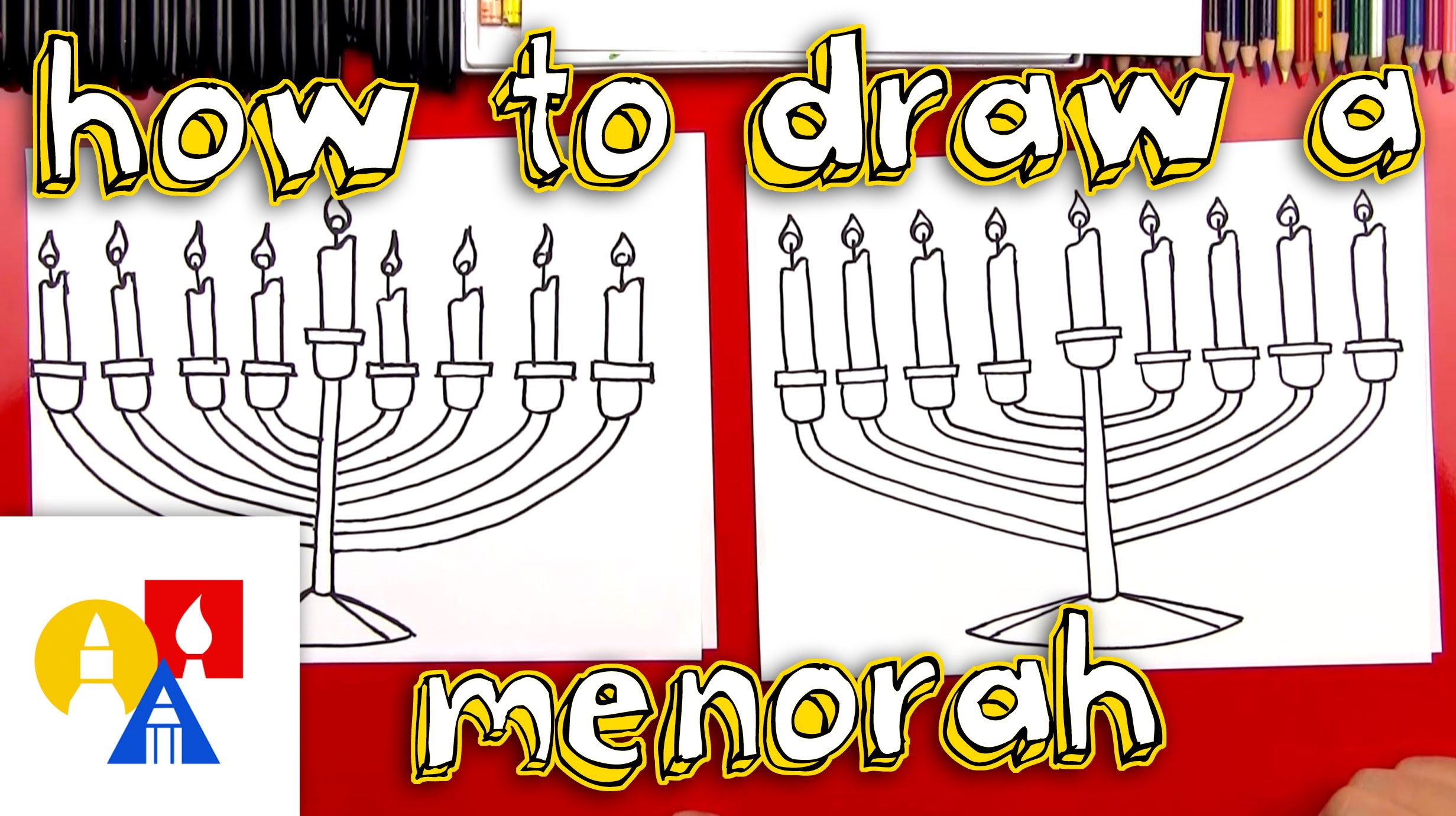 2463x1381 How To Draw A Menorah