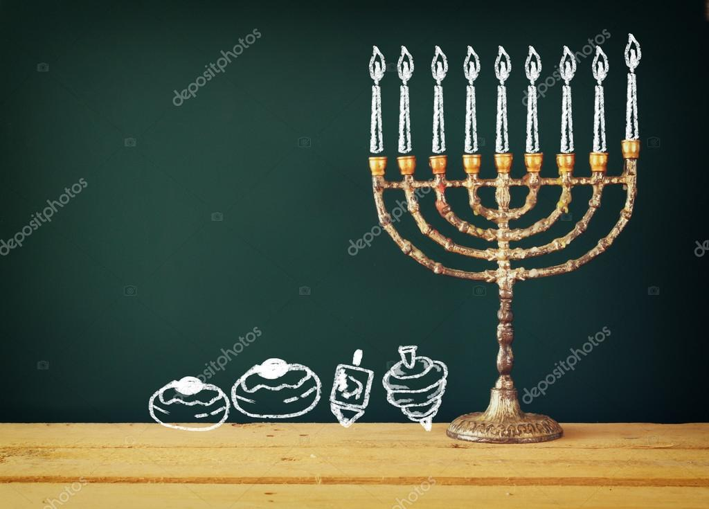 1024x735 Image Of Jewish Holiday Hanukkah With Drawing Menorah Candles