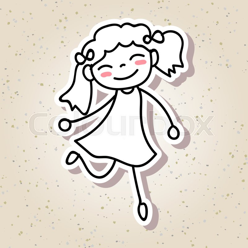 800x800 Hand Drawing Cartoon Concept Happiness, Happy Kid With Big Smile