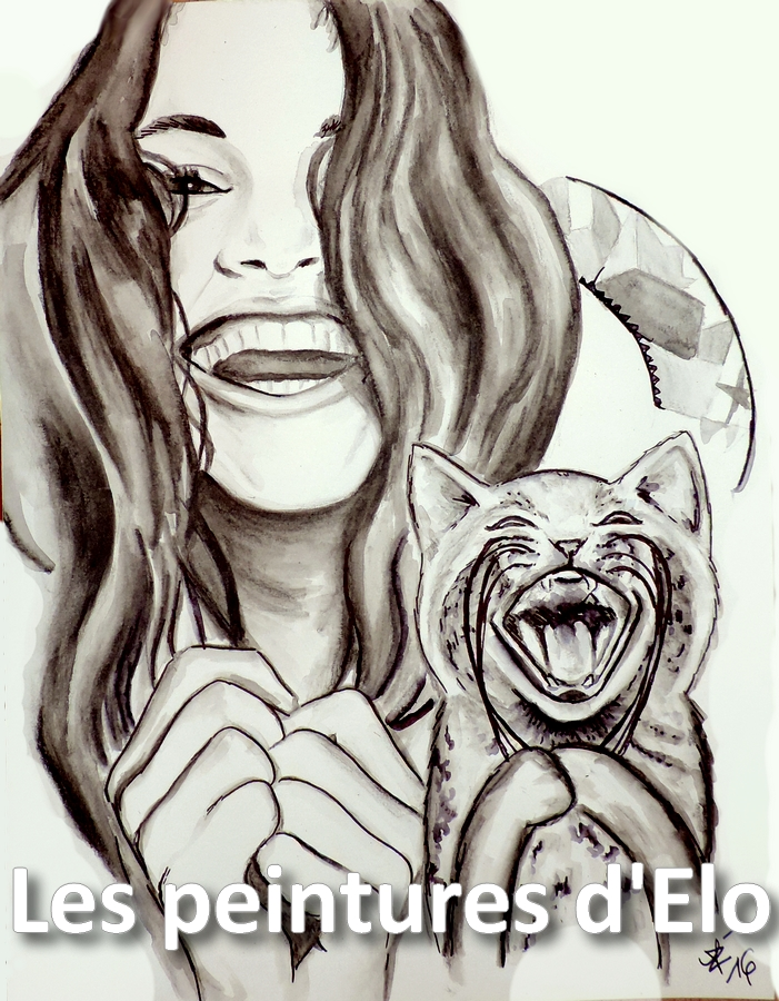 701x900 Lol Cat Woman Portrait Drawing Art Smile Laughing Joy Happiness