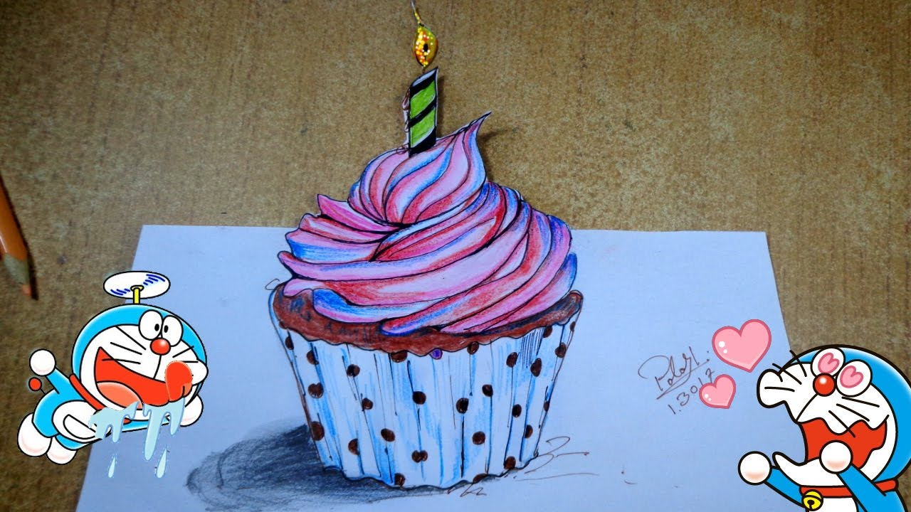 1280x720 Cupcake Painting On Color Pencil Happy Birthday Cake Drawing
