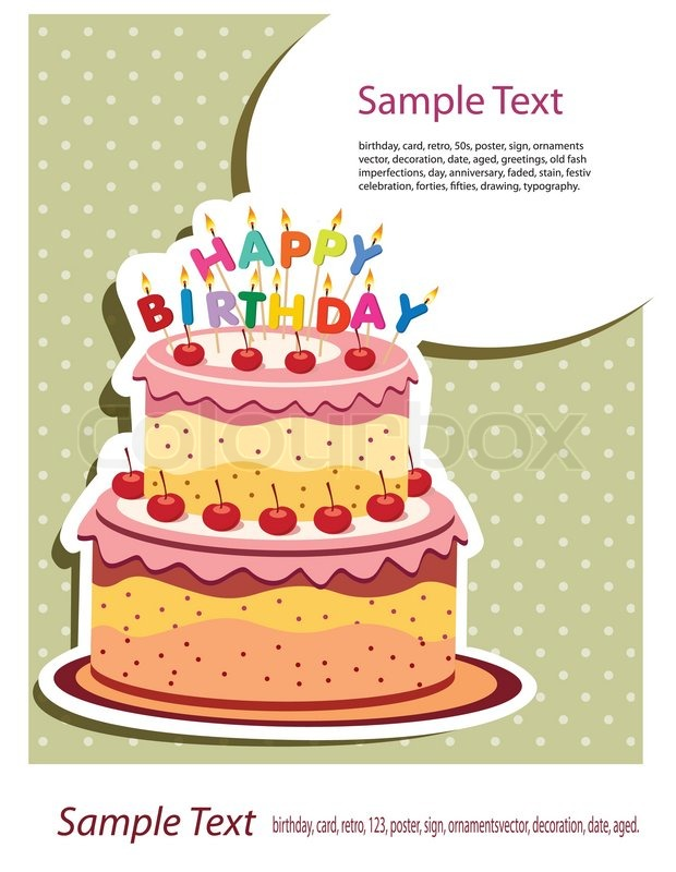 620x800 happy birthday card birthday cake stock vector colourbox