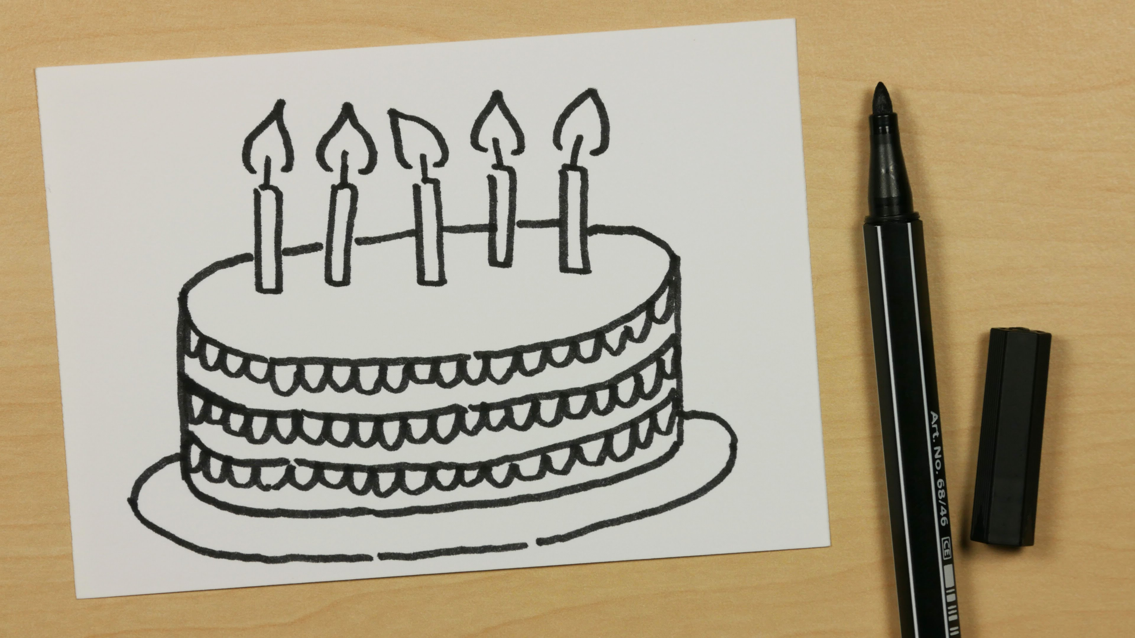 Happy Birthday Cake Drawing at GetDrawings