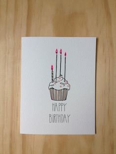 236x314 Plantable Seed Paper Happy Birthday Card, Hand Illustrated Cupcake
