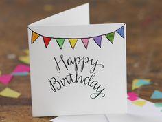 236x177 Happy Birthday Card Flag Cute White Design Handmade Drawn Pen