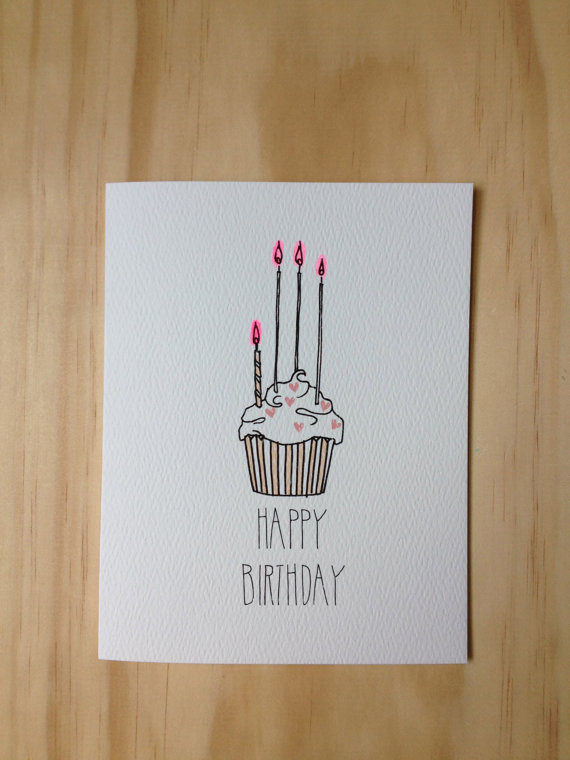 570x760 Heart Sprinkle Cupcake Happy Birthday Cards, Stationary And Hand
