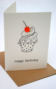 236x375 Plantable Seed Paper Happy Birthday Card, Hand Illustrated Cupcake