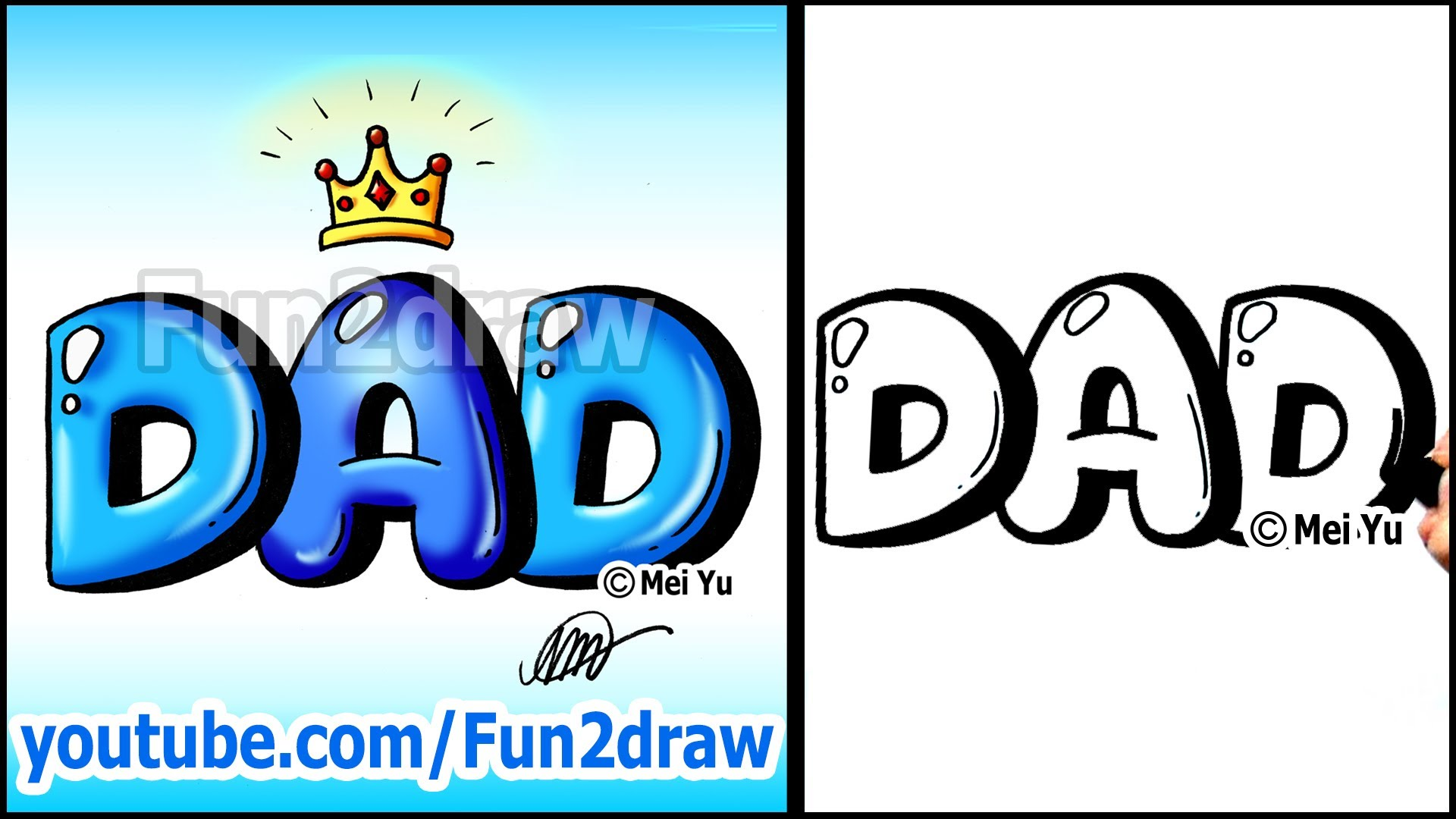 1920x1080 Draw Dad With Crown Graffiti Bubble Letters