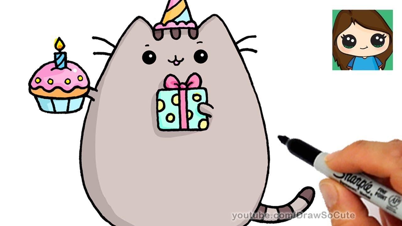 1280x720 How To Draw Happy Birthday Pusheen Cat