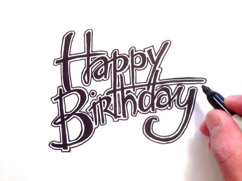 480x360 How To Draw Happy Birthday In Cursive