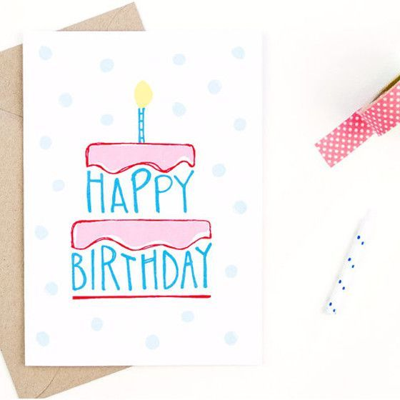 560x560 Happy Birthday Card Hand Drawn And Envelopes