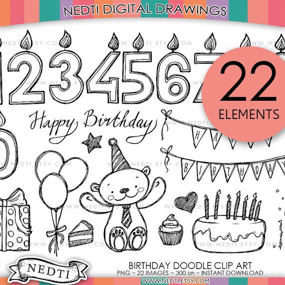 570x570 Birthday Doodle Clip Art, Png, Instant Download, Happy Birthday