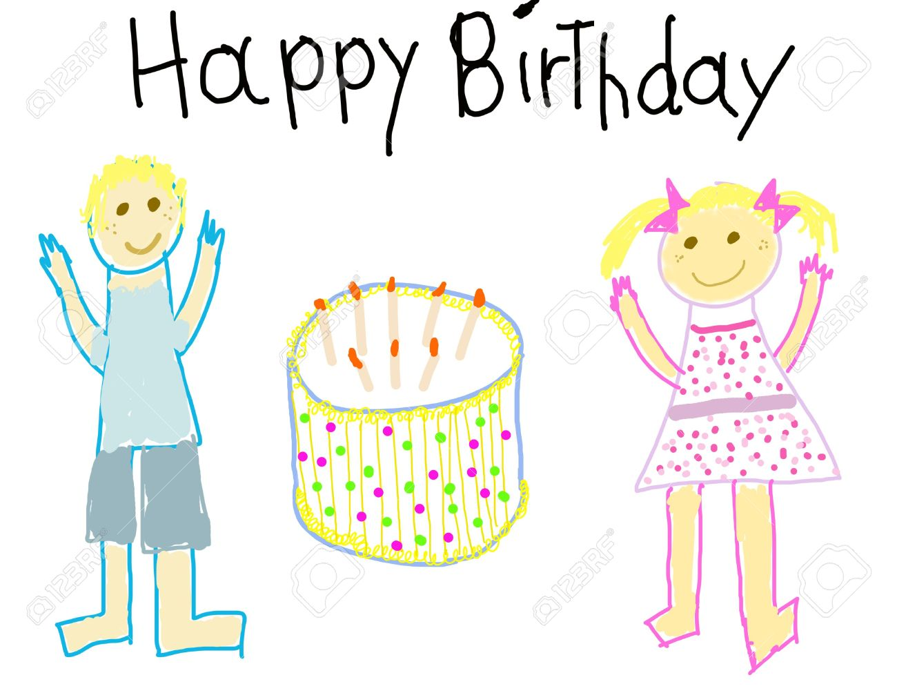 1300x1004 Child Like Drawing Of A Boy Amp Girl With Happy Birthday Stock Photo