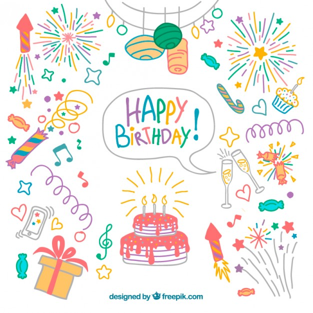 626x626 Hand Drawn Colored Birthday Elements Pack Vector Free Download