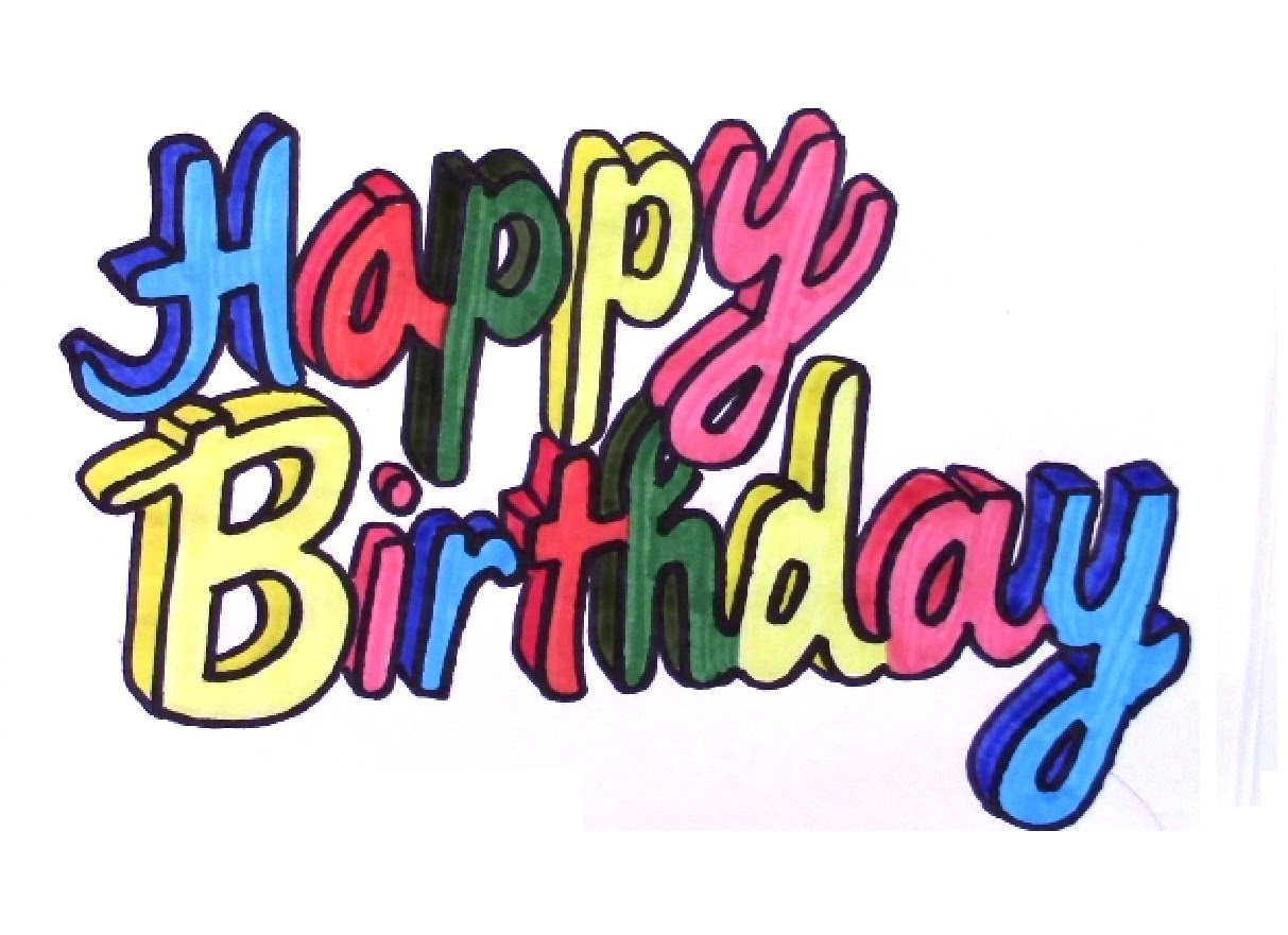 1213x881 How To Draw Happy Birthday In 3d Colored Letters