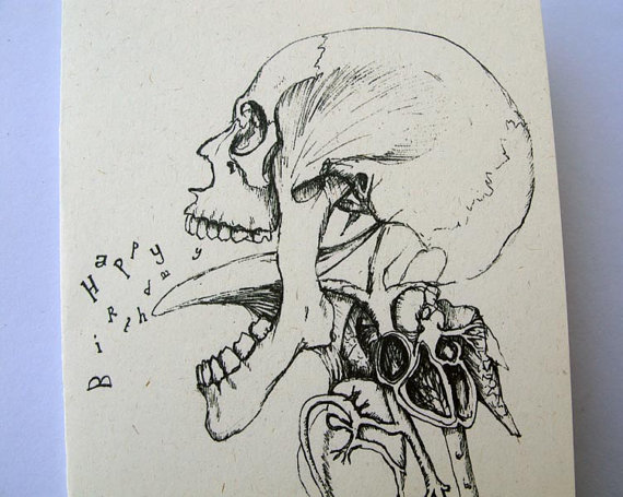 570x455 Skull Drawing Creepy Gothic Happy Birthday Card By Mireog,