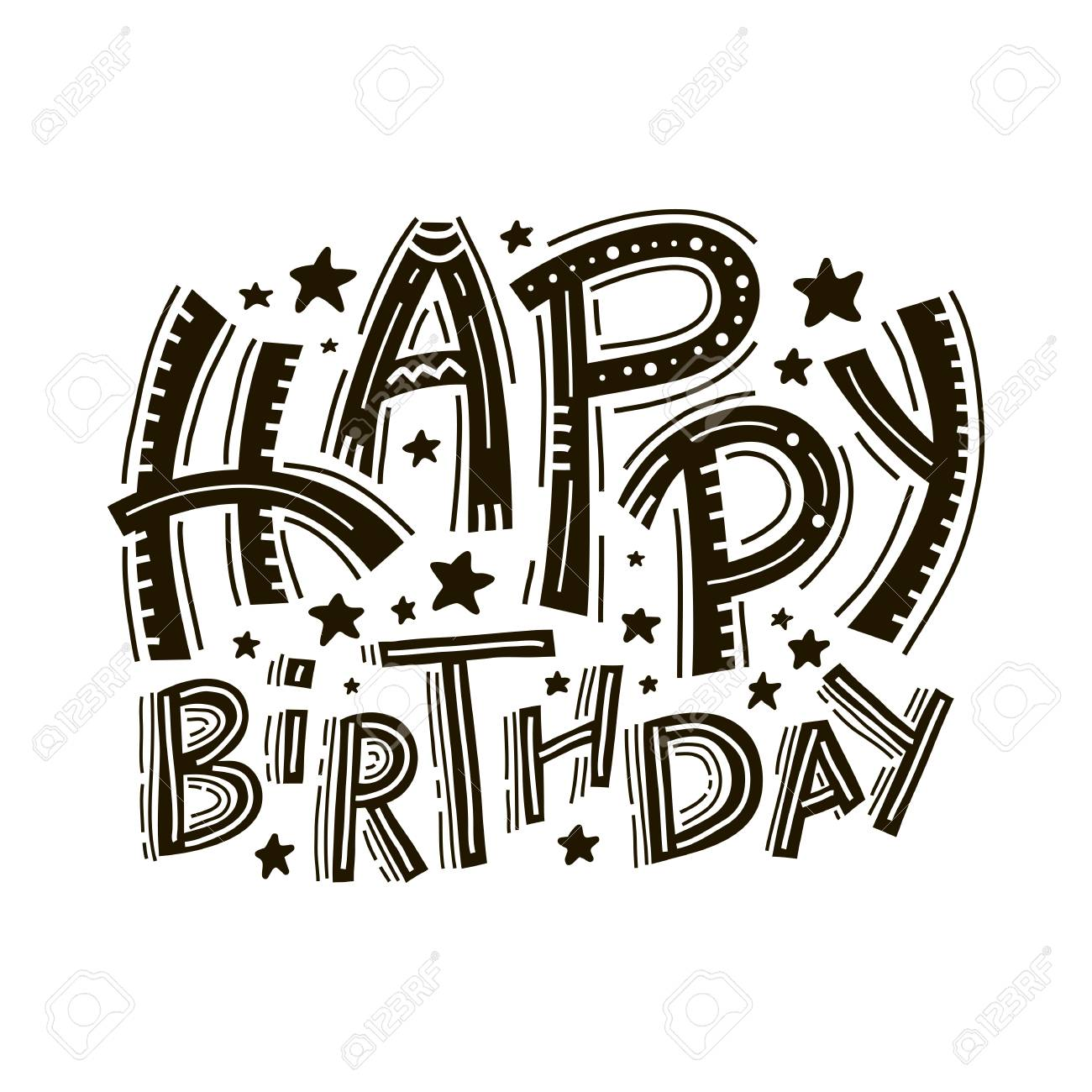 1300x1300 Happy Birthday Greeting Card Lettering. Hand Drawn Invitation