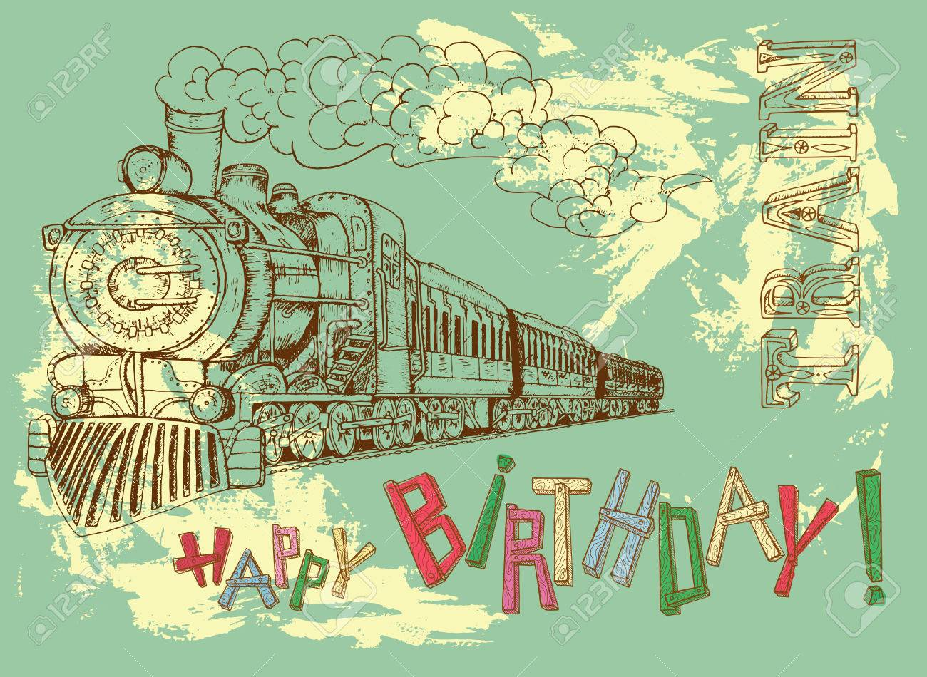 1300x950 Retro Happy Birthday Card With Steam Train And Colorful Letters