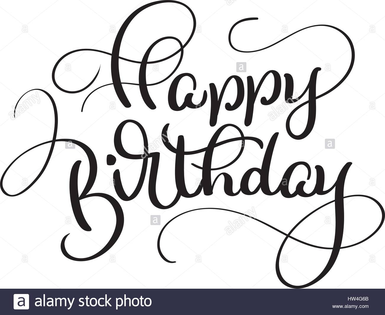 1300x1065 Text Happy Birthday On White Background. Calligraphy Lettering
