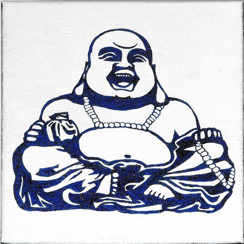 500x500 Ab01 Buddha Laughing Sitting Drawing On Tile Babies Onsie Prints