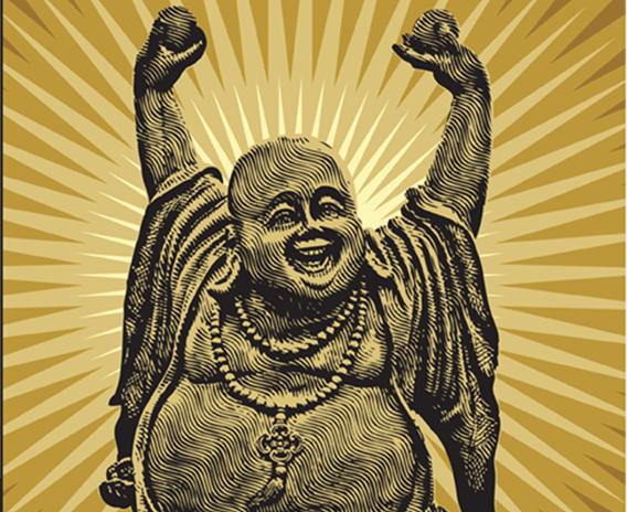 568x464 Chinese Happy Buddha, Vectors