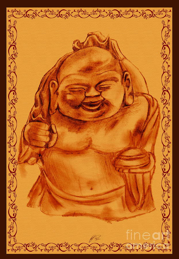 622x900 Happy Buddha Drawing By Rj Roskom