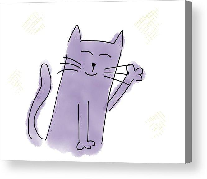 666x575 Happy Cat Drawing Acrylic Print By Hanni Jakob
