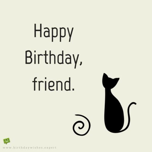 500x500 Happy Birthday Friend On Image With Cute Cat Drawing