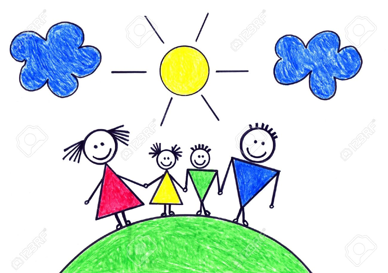 1300x916 Child's Drawing Of Happy Family Stock Photo, Picture And Royalty