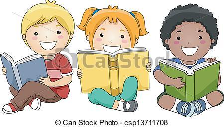 450x256 Children Reading Books. Illustration Of Happy Children Vector