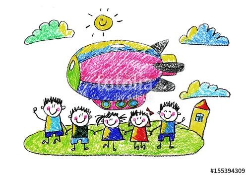 500x354 Kids Drawing Kindergarten School Happy Children With Airship