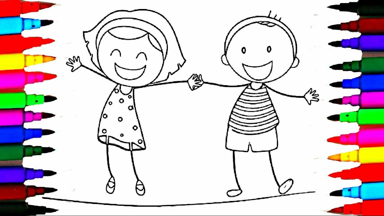 1280x720 School Girl And Boy Coloring Pages L Happy Kids Drawing